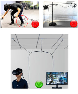 Крепление кабеля VR очков к потолку MIDWEC